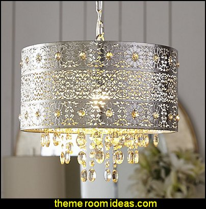 Bohemian Crystal Chandelier  I Dream of Jeannie theme bedrooms - Moroccan style decorating - Jeannie bedroom harem style - Arabian Nights theme bedrooms - bed canopy - Moroccan stencils - I dream of Jeannie bottle - satin bedding - throw pillows - Moroccan furniture - Aladdin bedroom ideas - Arabian princess costume -  Harem Costumes