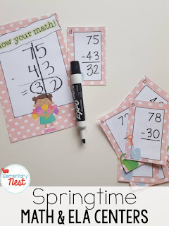 Spring Primary Centers- These springtime centers are for second grade students. There are also ELA centers included. Laminate and hand students black Expo markers to do over and over in their centers!