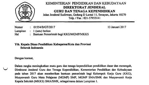 Surat Dirjen GTK Nomor 01554/B/GT/2017 Tentang Bantuan Pemerintah Bagi KKG/MGMP/MKKS