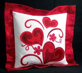 Applique Hearts Pillow tutorial at Quilting in the Rain & Quilt Inspiration: Free pattern day: Hearts and Valentines pillowsntoast.com