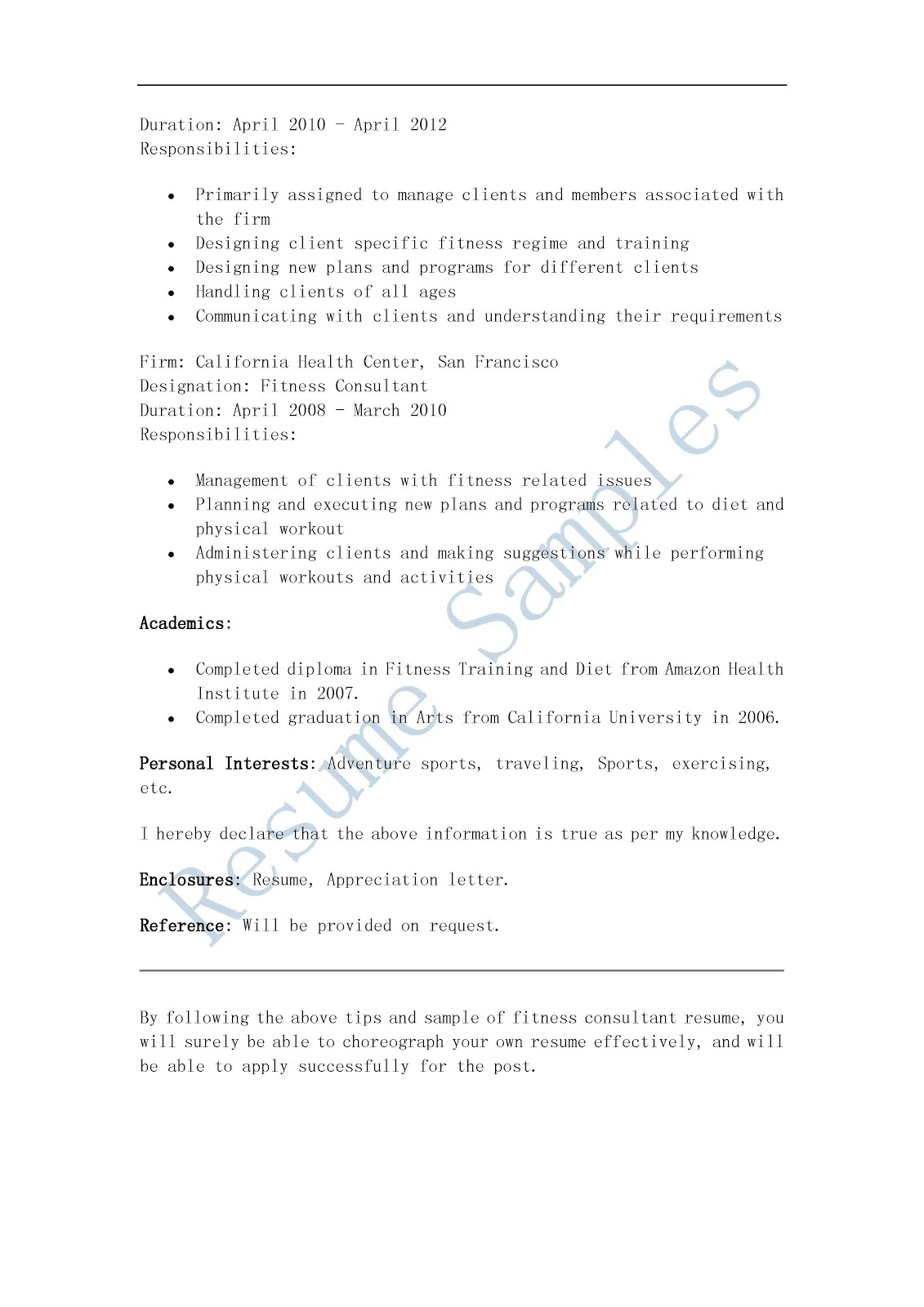 Resume Samples Fitness Consultant Resume