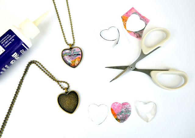 DIY Heart-Shaped Izink Monoprint Pendant Assembly by Dana Tatar