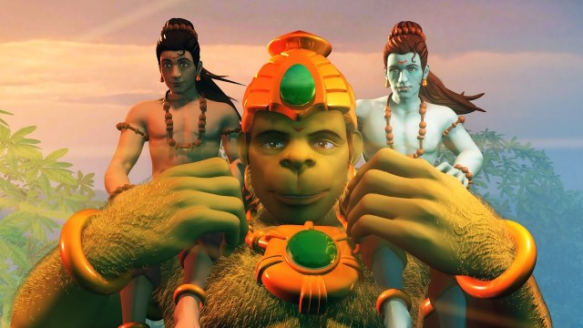 Hanuman vs Mahiravana, Rama and Lakshmana on Hanuman's shoulders