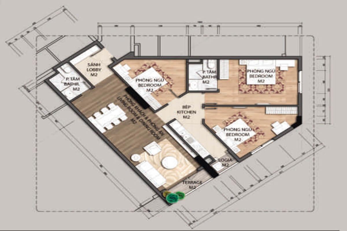 Mặt bằng căn hộ C4-3 phòng ngủ – 100.4m2