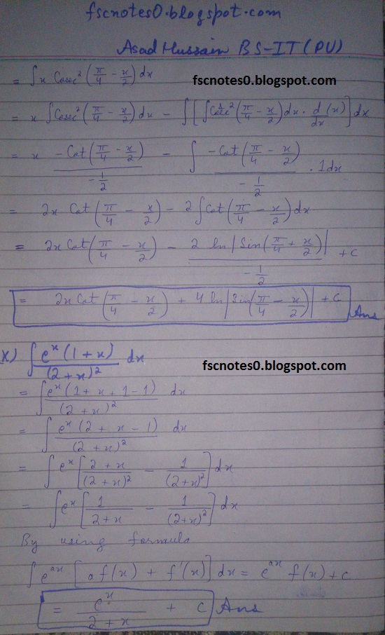 FSc ICS Notes Math Part 2 Chapter 3 Integration Exercise 3.4 Question 5 by Asad Hussain 3