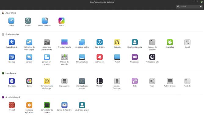 Linux Mint - Configurações do Sistema