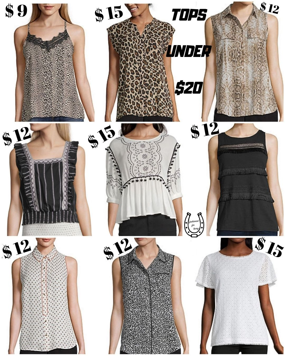 womens tops/blouses under $20/ cheap fashion/ style on a budget