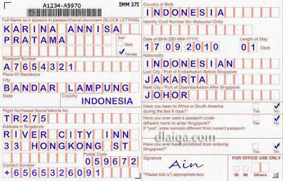kartu imigrasi (kedatangan), diambil petugas