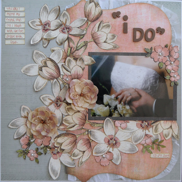 Wedding Layout on Grey Background with Pink Fussy Cut Flowers