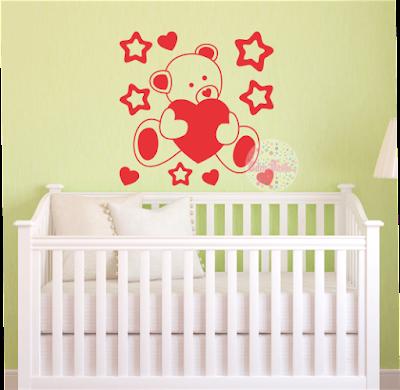 vinilo decorativo pared habitacion, infantil, bebé, nursery, osito, corazón, estrellas