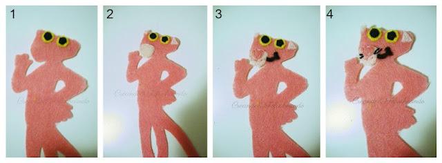 paso a paso vamos cosiendo las piezas para hacer la pantera rosa en Fieltro para el marcapaginas