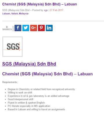 Oil Gas Vacancies Chemist Sgs Malaysia Sdn Bhd Labuan