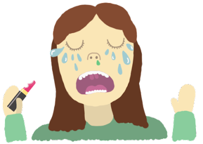 crying girl illustration