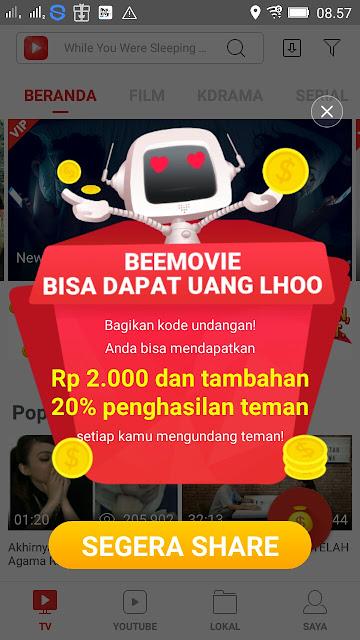 Gratis uang dari Aplikasi BeeMovie