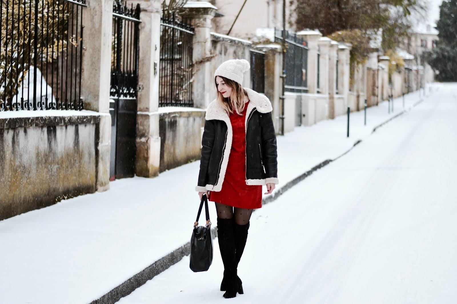 blog mode : tenue de Noël robe rouge et cuissardes