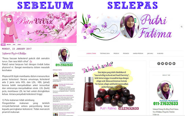 Blog Make Over putrifatima.com Sebelum Selepas