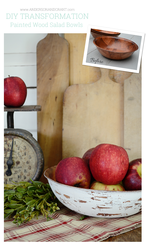 Great tips for a DIY project using wood salad bowls purchased from a thrift store | www.andersonandgrant.com