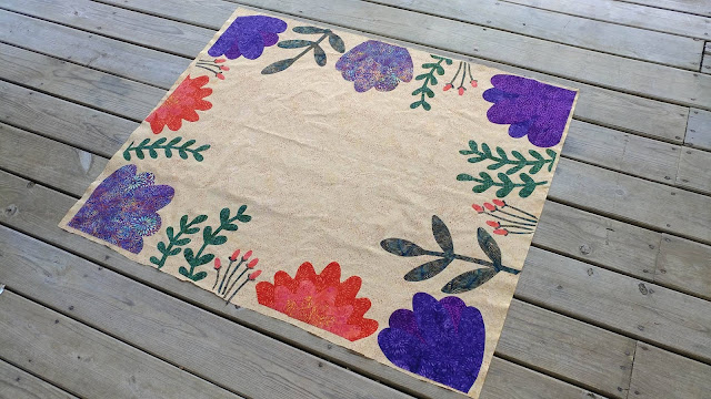 Floral frame applique quilt using Island Batik fabrics