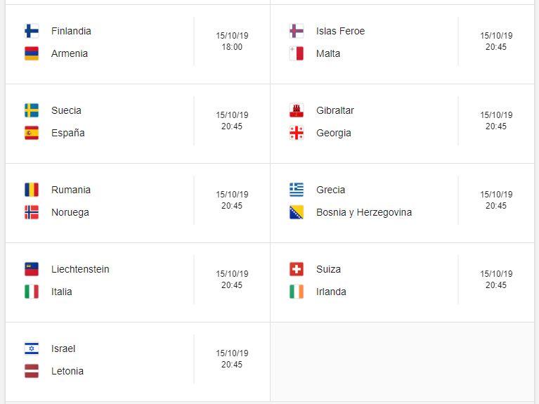 16 Calendario eliminatorias Eurocopa 2020 - 15 de octubre 2019. Partidos de clasificación Eurocopa 2020. Juegos de las eliminatorias Eurocopa 2020. Partidos, fechas, hora, transmisiones eliminatorias Eurocopa 2020. Donde ver la Eurocopa 2020