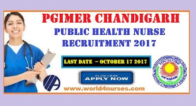 PGIMER Chandigarh Public health nurse vacancy October 2017
