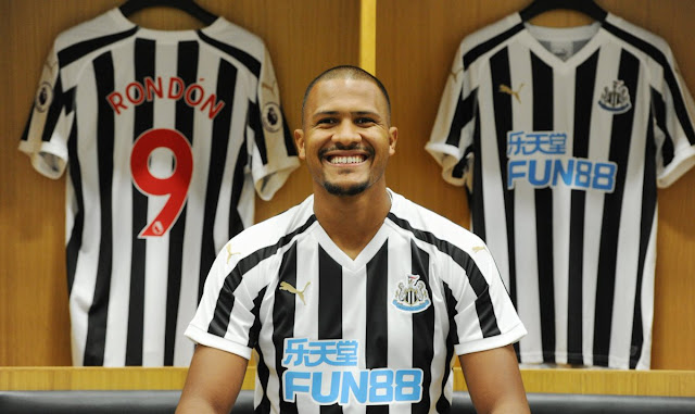 Salomon Rondon all smiles as he completes his transfer to Newcastle from West Brom