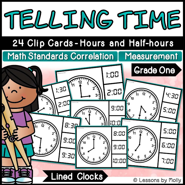 https://www.teacherspayteachers.com/Product/Telling-Time-to-the-Hours-and-Half-hours-with-Analog-Clocks-Lined-2938053