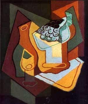 Garrafa de Vidro de Vinho e Fruteira - Técnica de colagem e cubismo nas obras de Juan Gris