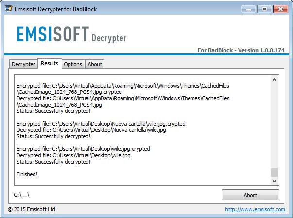 BadBlock: Emsisoft Decrypter, risultati