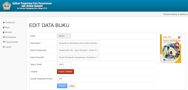 Halaman Edit Data Buku (Backend)