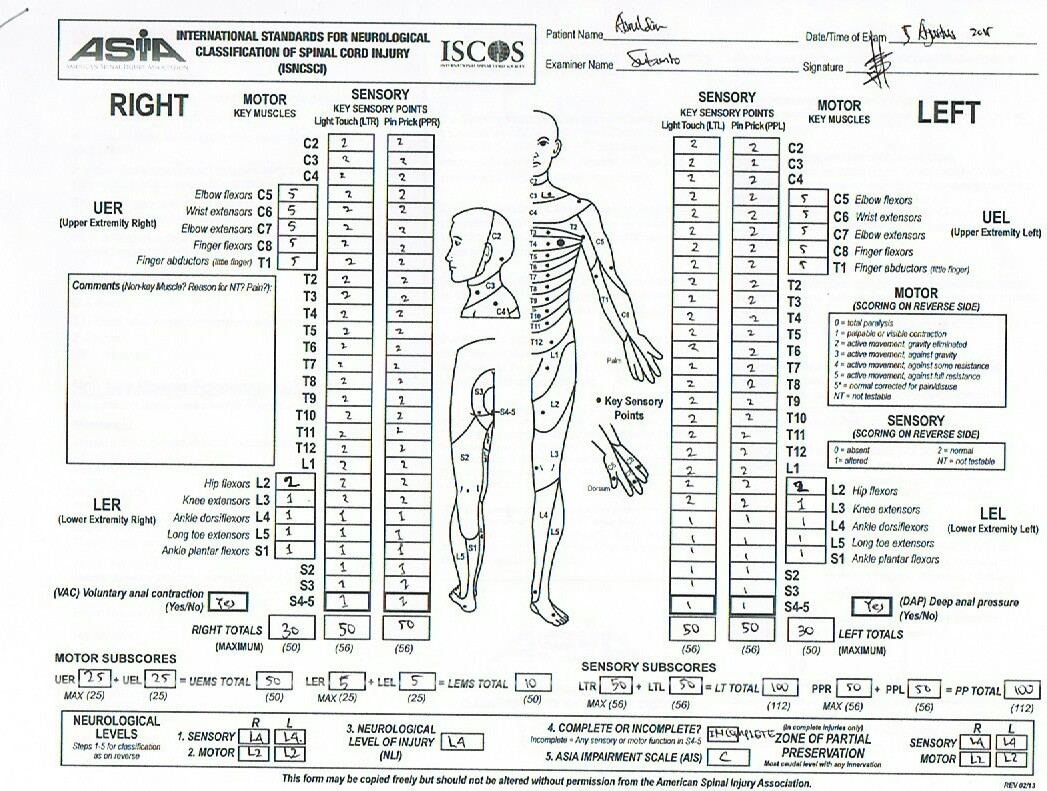 Lower Extremity Motor Score Spinal Cord Injury