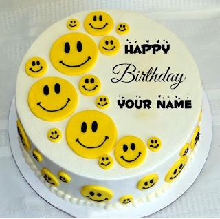 Kue Ulang Tahun Lucu Icon Smiley Dengan Nama