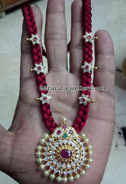 Red Thred Necklace with CZ Pendant