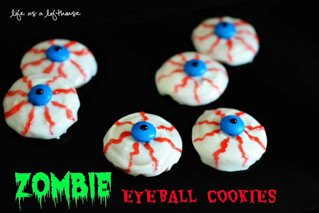 Zombie Eyeball Cookies are an easy Halloween treat that only require 4 ingredients. Life-in-the-Lofthouse.com