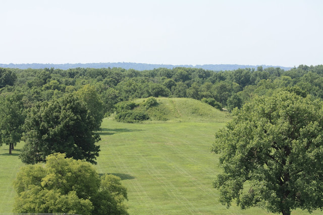 Mound viewed from atop Monk's Mound at Cahokia