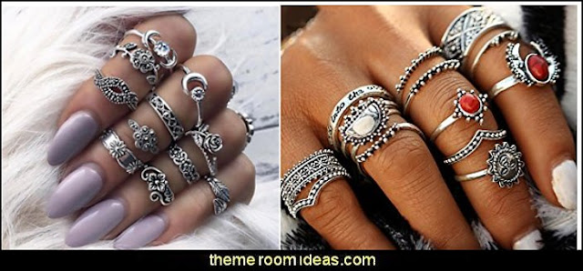 Bohemian Style Women Rings  Fashion Jewelry - Costume jewelry - Fashion Necklaces - costume jewelry - Bargain prices - affordable dress jewelry - colorful jewels necklaces for women -  beaded necklaces - womens jewellery Rhinestones Crystals