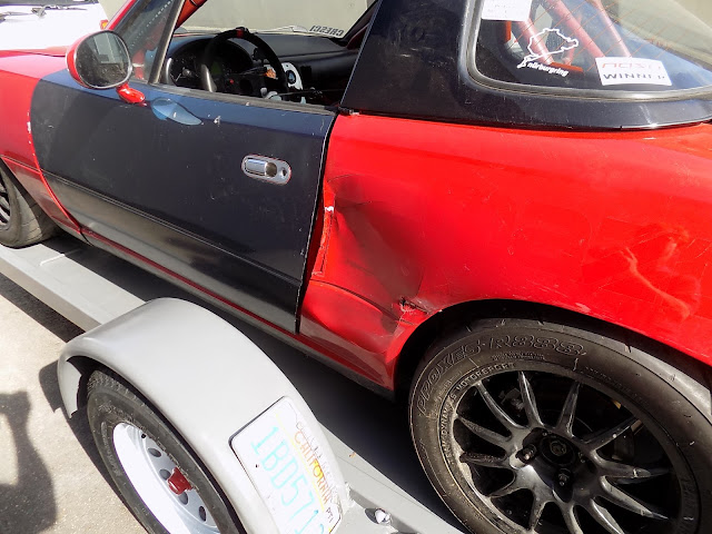 Auto body repairs on Spec Miata Race Car.