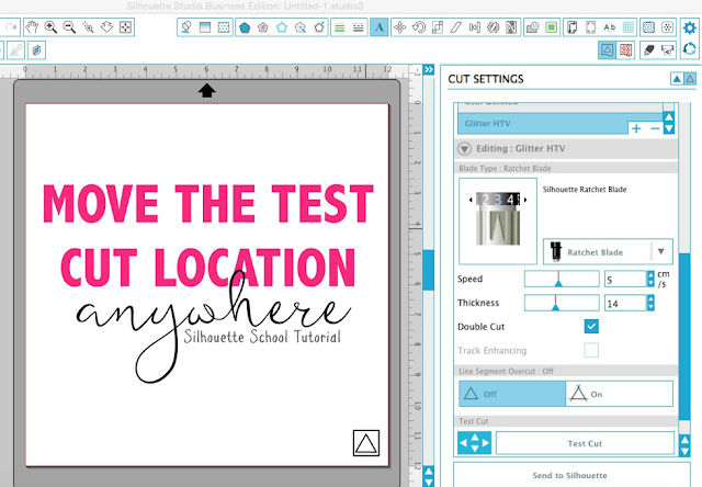 Silhouette tutorial, Silhouette Studio, Silhouette Cameo, test cut location