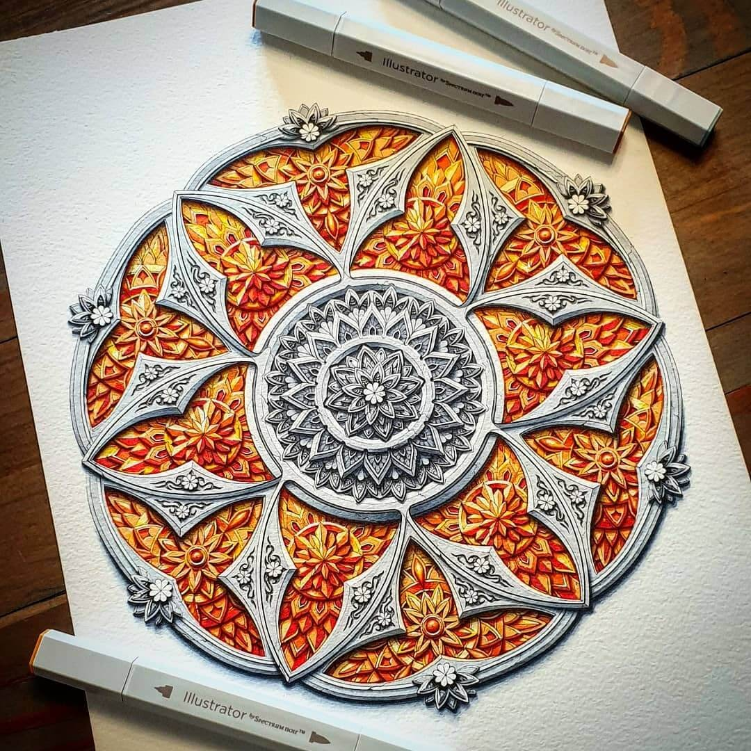 04-The-shape-of-fire-Baz-Furnell-3D-Looking-Mandala-Drawings-www-designstack-co