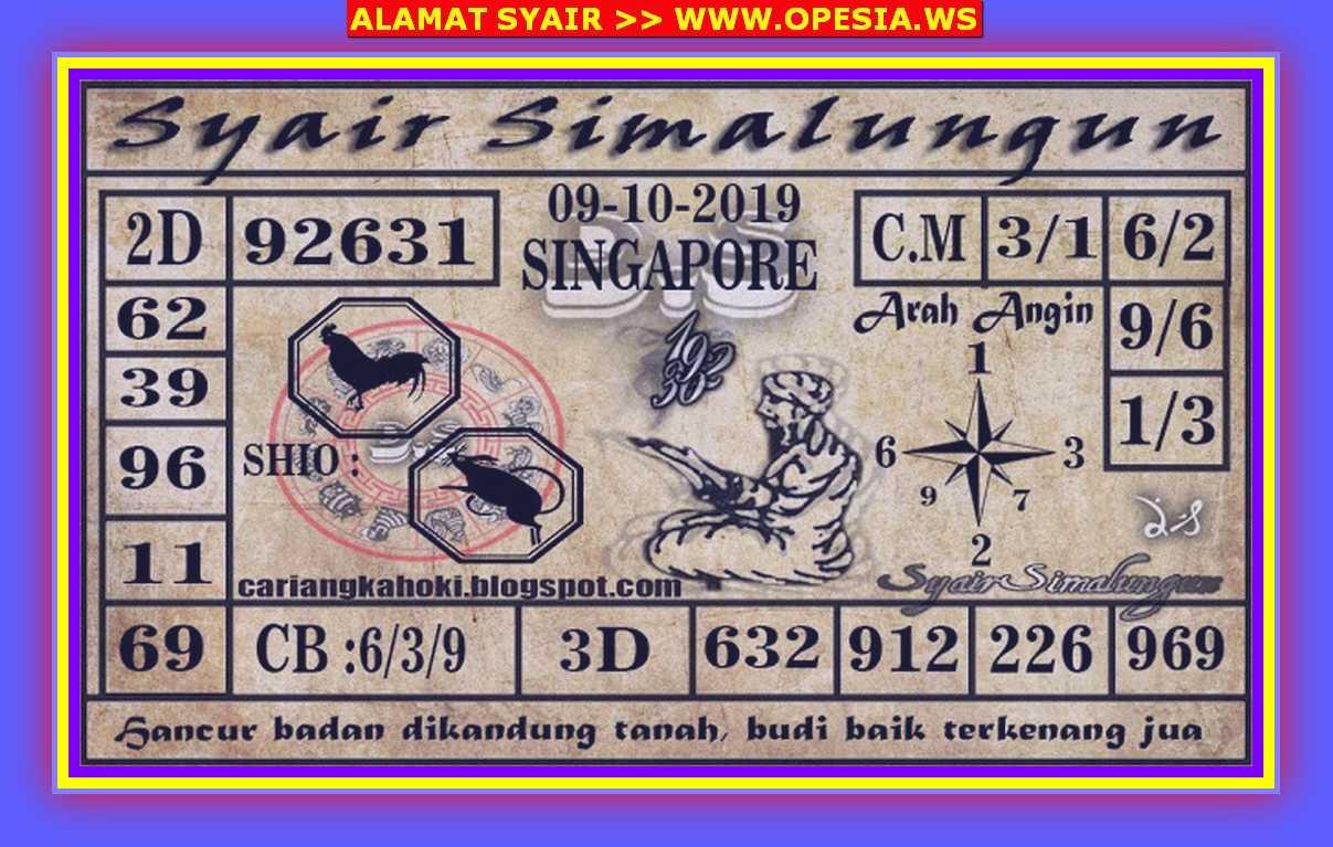 Kode syair Singapore Rabu 9 Oktober 2019 50