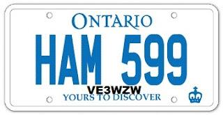 VE3WZW - Personalized licence plates HAM 599