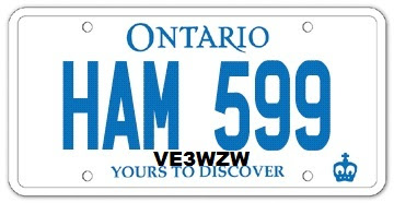 VE3SP - Personalized licence plates HAM 599