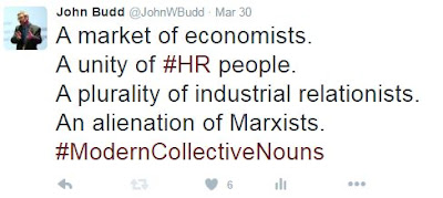 A market of economists. A unity of HR people. A plurality of industrial relationists. An alienation of Marxists.