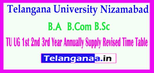 TU UG Telangana University UG 1st 2nd 3rd Year Annually Supply Revised  Time Table