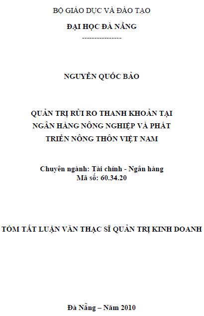 Quản trị rủi ro thanh khoản tại ngân hàng nông nghiệp và phát triển nông thôn Việt Nam