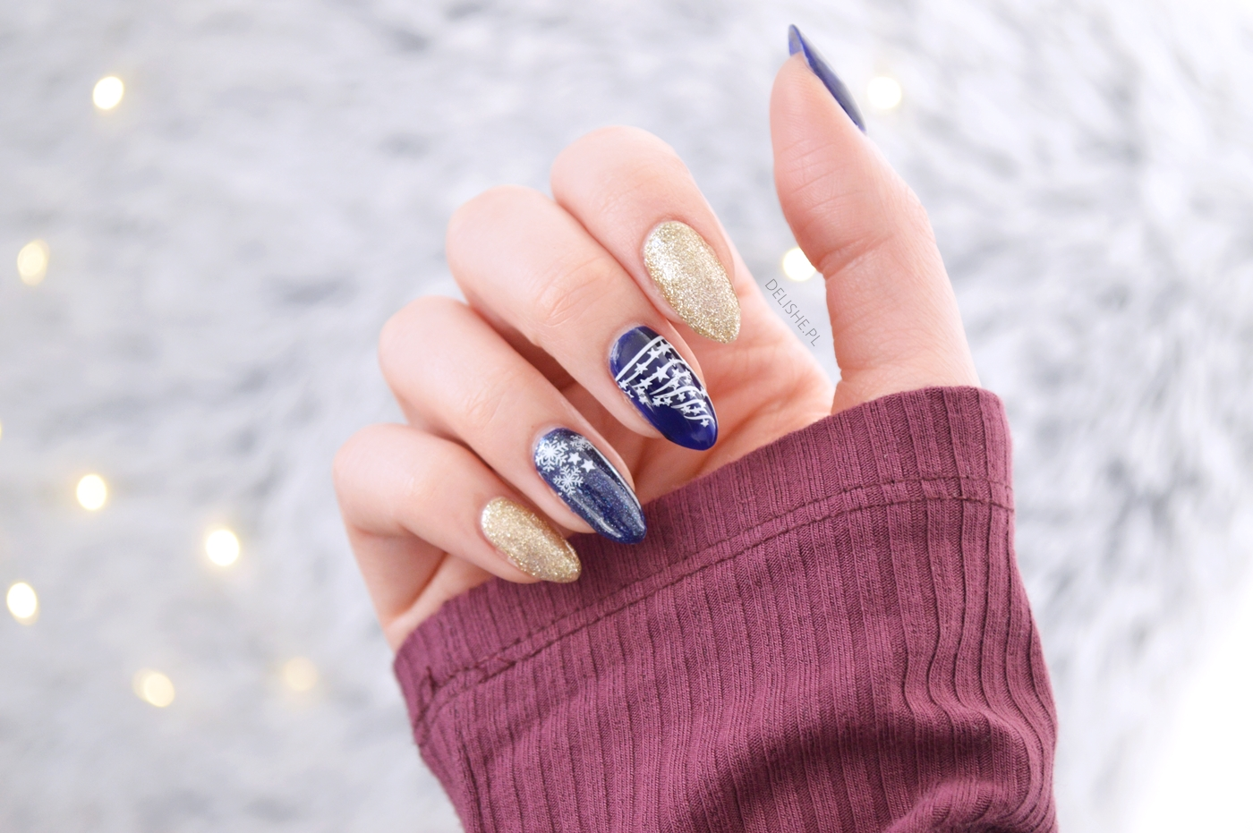 blue ink semilac gold disco, manicure hybrydowy