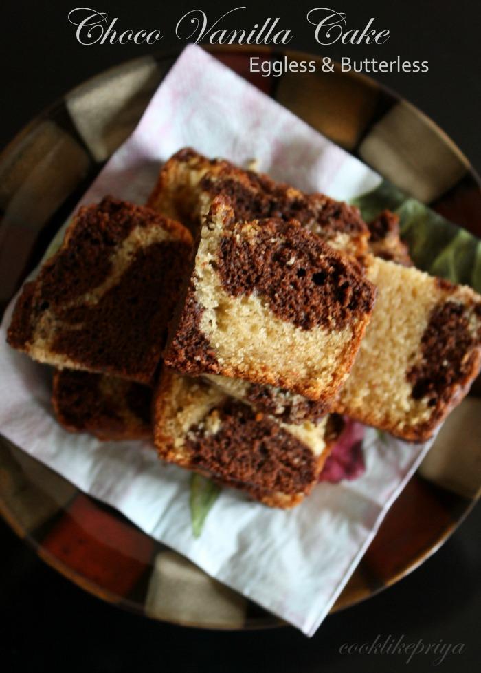 Cook Like Priya Eggless Chocolate Vanilla Cake Eggless Marble Cake Snack Cake