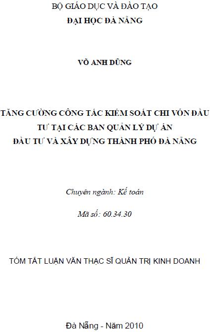 Tăng cường công tác kiểm soát chi vốn đầu tư tại các ban quản lý dự án đầu tư và xây dựng thành phố Đà Nẵng