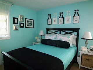 Dormitorio turquesa negro