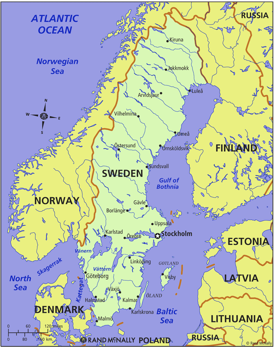 Map of Sweden in The World Sweden Map Geography