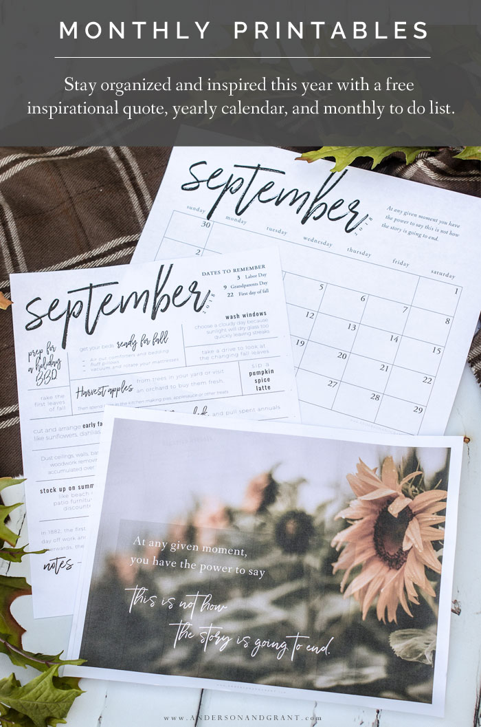 Free monthly printables